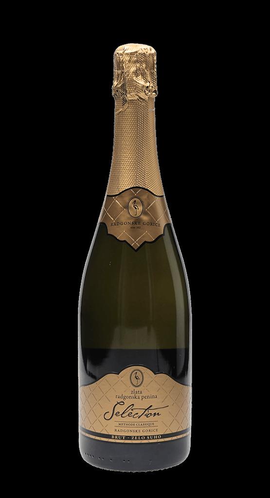 Zlata radgonska penina Selection – vrhunsko peneče vino. Radgonska penina ob narezku. Vinski bar Vodole–posestvo Soncni raj