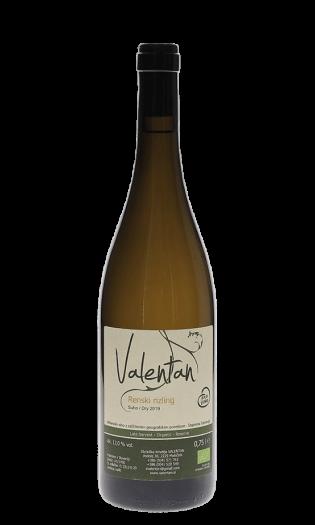 Belo vino Valentan – Renski rizling, 2019, suho. Vinska fontana Vodole–posestvo Sončni raj.