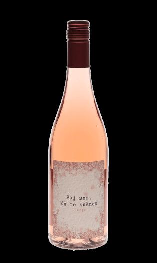 Rose vino Poj sem, da te kušnem, znamke Argo. Vinska fontana Vodole z bogato ponudbo vin in kulinarike.